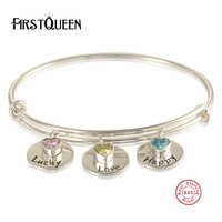 FirstQueen Authentic 100 925 Sterling Silver LUCKY LOVE HAPPY Bangle Bracelet Luxury Jewelry With Nature Stone