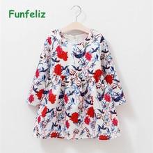 купить Funfeliz Spring Baby Girl Dress Floral Print Dress for Girls Full Sleeve Kids Dresses Children Clothes 1-12 Years по цене 868.85 рублей