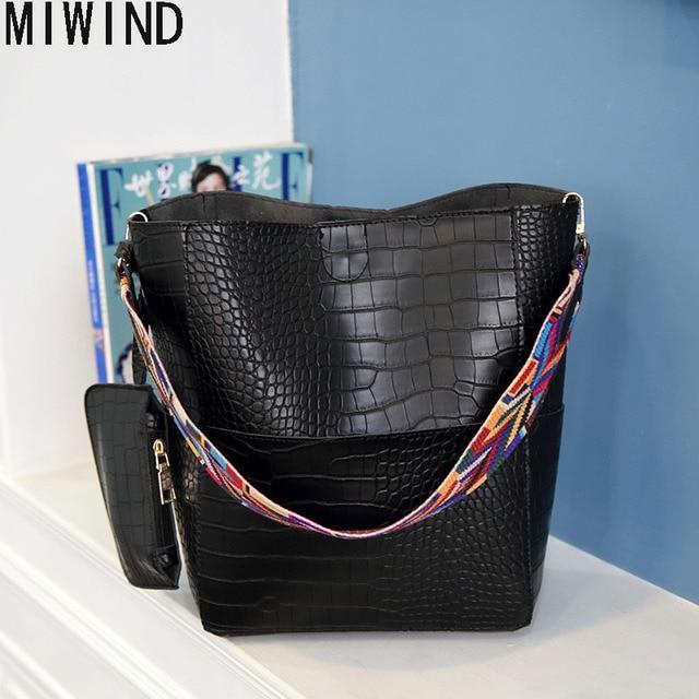 eb20ca09d99cb MIWIND Luxus Handtasche Frauen tasche Breit Farbe Gurt umhängetasche Mit  Großer Kapazität weiblichen Krokoprägung Leder Eimer