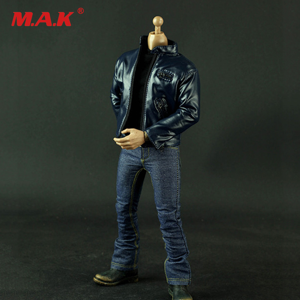 1/6 JG Dark Blue Leather Jacket & Jacket Clothes Set for 12 inches Male Action Figures luminox xl 1922 bob