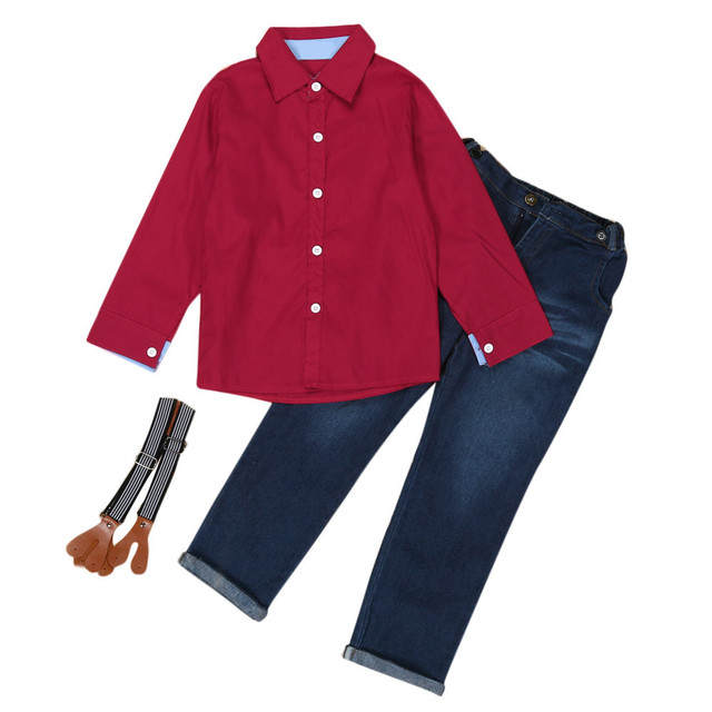 339d61655982 Fashion 2Pcs Kids Toddler Boys Solid Handsome Long Sleeve Red Shirt+ ...