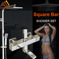 Thermostatic Chrome Polish Shower Faucets ABS Showerhead And Hanshower With Tub Filler Bathroom Faucet