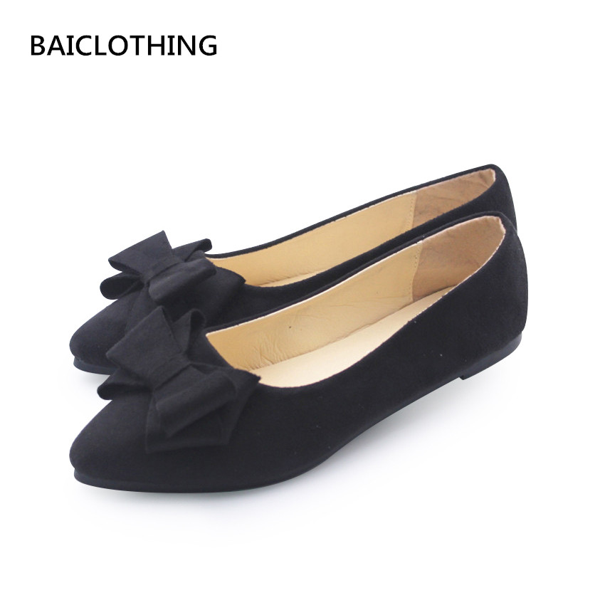 BAICLOTHING women casual black office shoes lady cute bow tie pointed tow flat shoes female cute spring & summer slip on shoes casual shoes women office ladies shoes lady cute bow tie pointed toe flats female cute spring