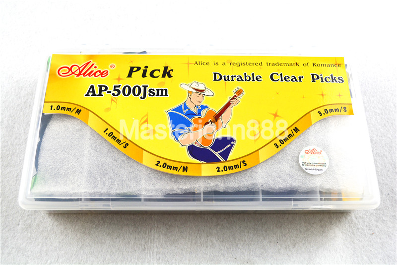 500pcs Plastic Box Alice AP-500JSM Durable Clear Transparent Jazz Guitar Bass Picks Plectrums 1.0/2.0/3.0mm