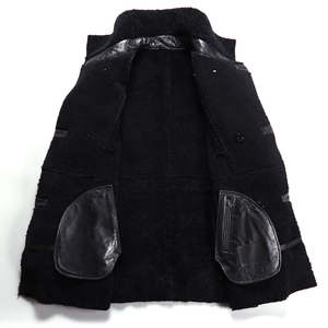Image 4 - Beliebte Real Schaffell Männer Mantel Echte Schafe Lammfell Jacke Männlichen Winter Warm Outwear Schwarz Männer Pelzmantel 4XL Große größe