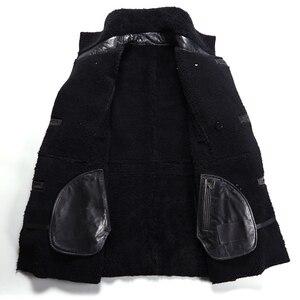 Image 4 - Chaqueta de piel de oveja auténtica Popular para hombre, chaqueta de piel de oveja genuina para hombre, prendas de vestir cálidas para invierno, abrigo de piel negro para hombre, talla grande 4XL