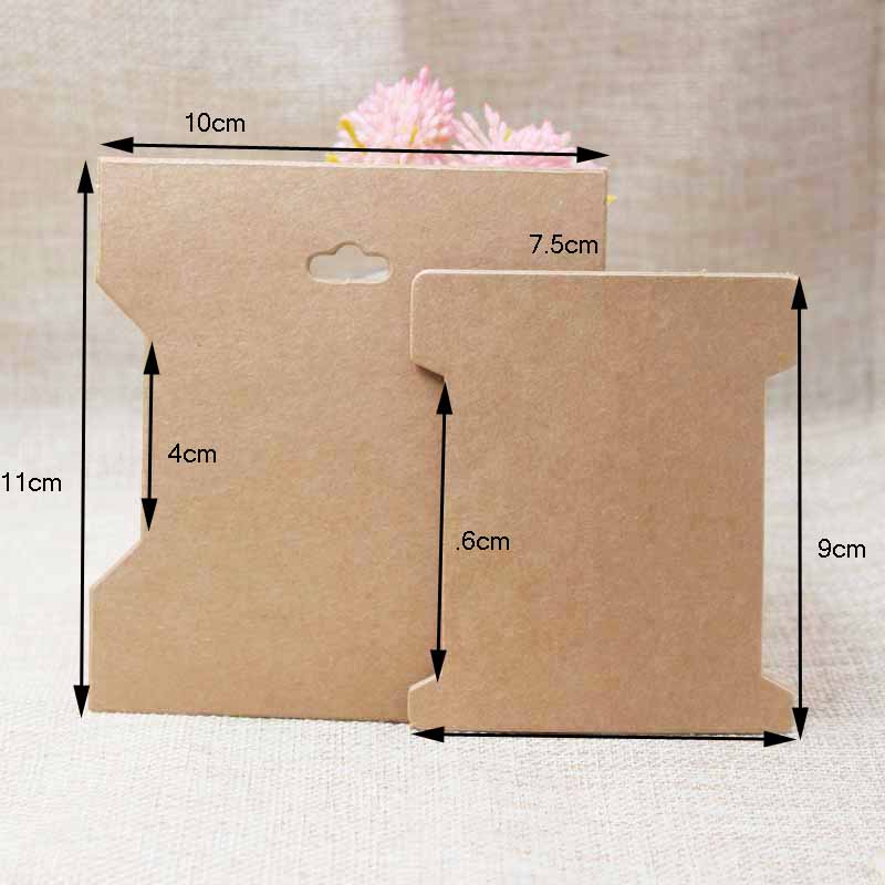 DIy Hair Accessories Package Card Multi Size  Vintage Kraft Hair Band /bandeau Packing & Display Tag Card 100pcs