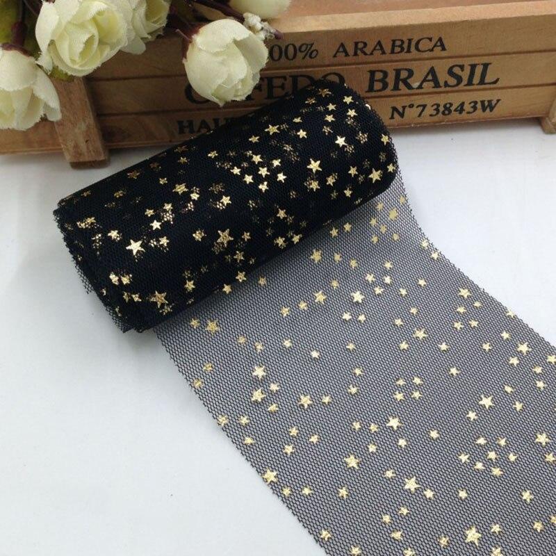 5 yards/roll 8cm Glitter Star Tulle DIY Pompoms Bow Baking Cake Topper Tutu Soft Squine Wedding Birthday Decoration