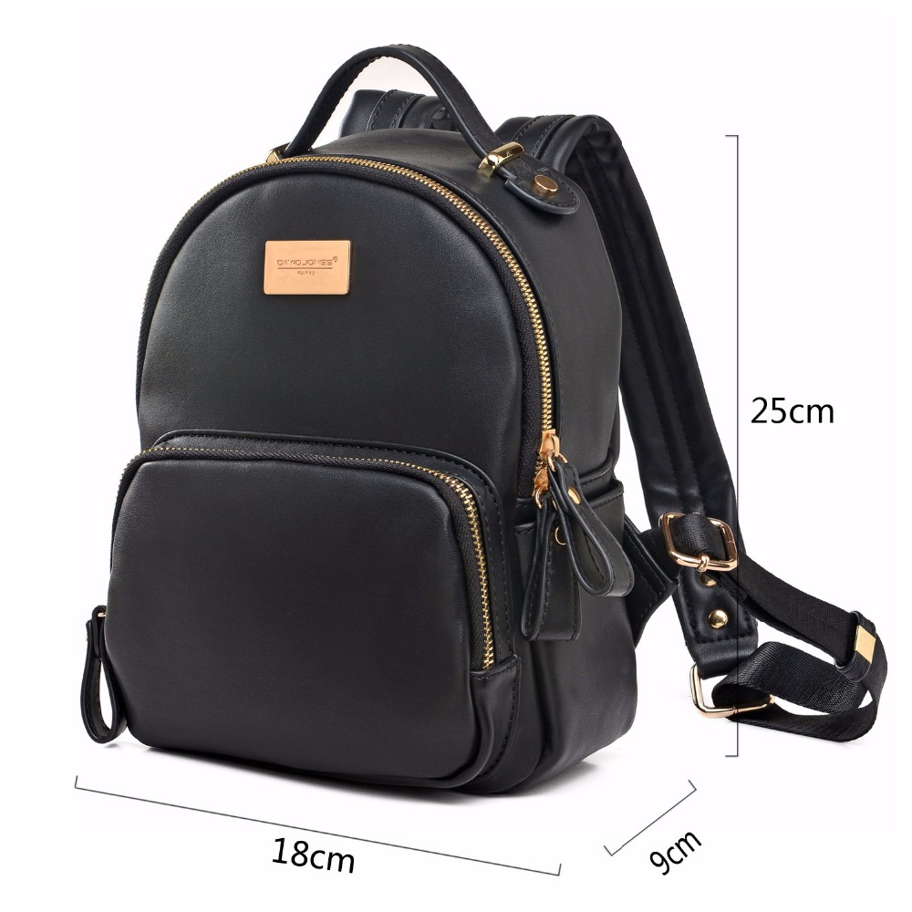 48684a34c6 DAVIDJONES women shoulder bags pu leather female backpack large lady solid  school bag girl brand teenager softpack drop shipping