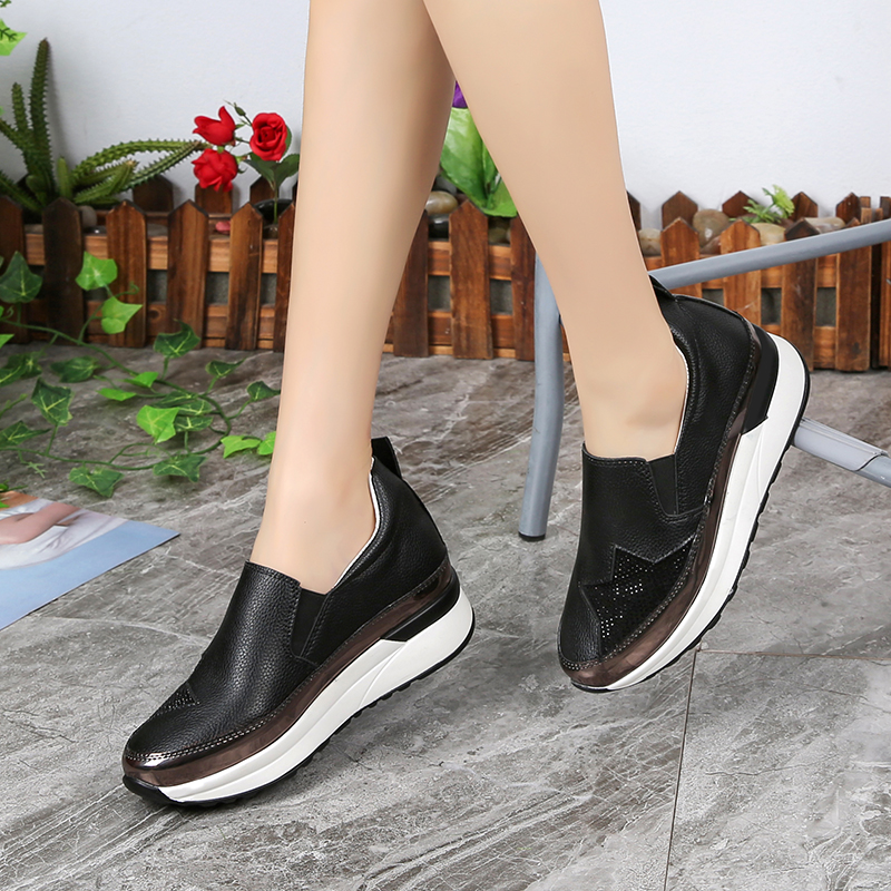 Lucyever 2018 Spring Autumn Women Casual Shoes Leisure Platform Shoes Breathable Height Increasing Shoes Sneakers Black White free shipping spring autumn women s flatform casual all match board shoes height increasing shoes