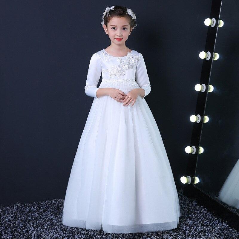 Flower Girl Dress Simple Design White Long Vestidos For 3 -5829
