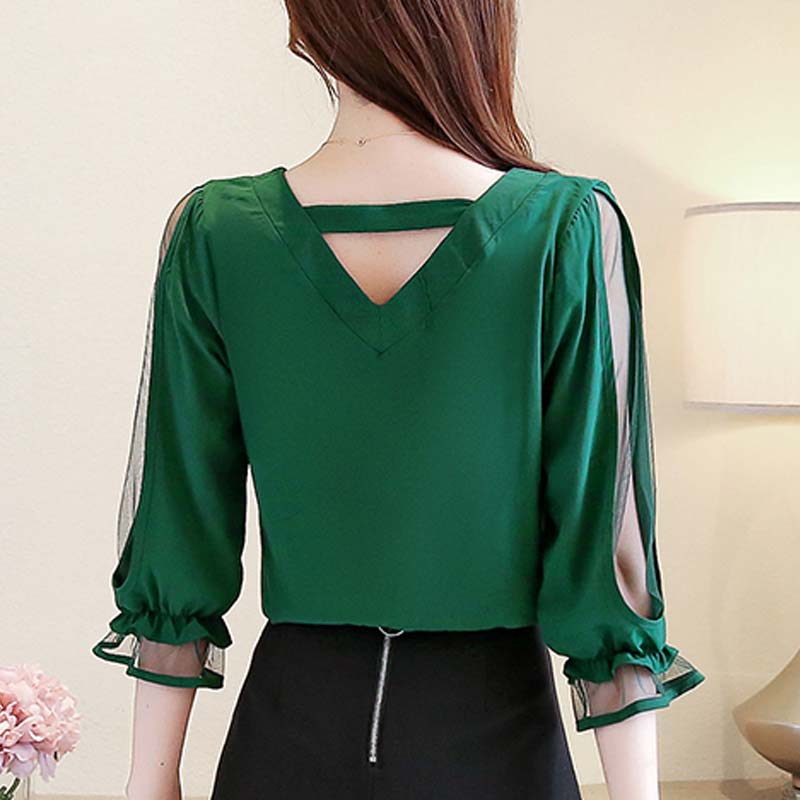 Womens tops and blouses 2019 chiffon blouse ladies tops Beading Solid V-Neck korean fashion clothing red and green shirt 3185 50 4