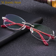 Yi Jiang Nan Brand Fashion Rimless Titanium Eyeglasses Women Tint Lenses Prescription Glasses Frame with Stones