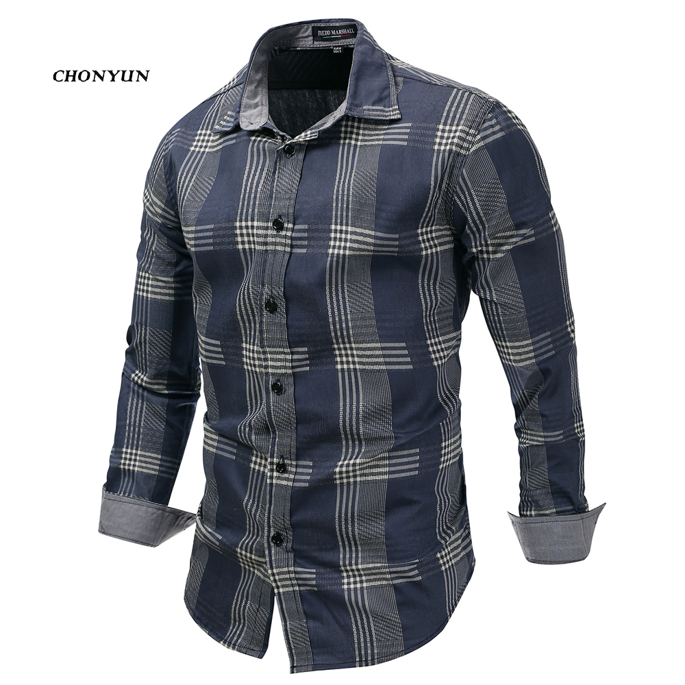 2020 Brand New Men's Casual Shirt Denim Long Sleeve Slim Fit Striped Shirts Business Camisa Breathable Dress Shirt Men Clothing 1