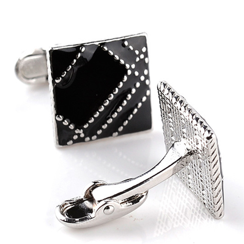 1Pair 2size Black Rectangle Square Cufflinks Mens Shirt Cuff Button Christmas Gifts for Men Plating Cuff link