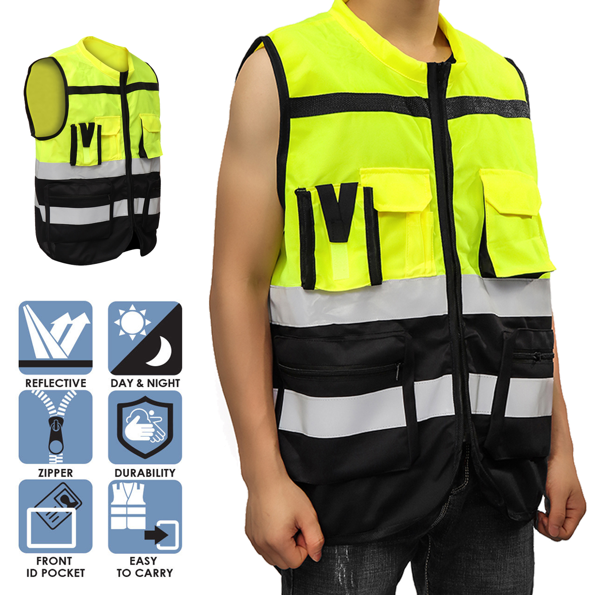 цена на Safurance S/M/L High Visibility Hi-Vis Safety Vest Reflective Driving Jacket Night Security Waistcoat With Pockets For Work Run
