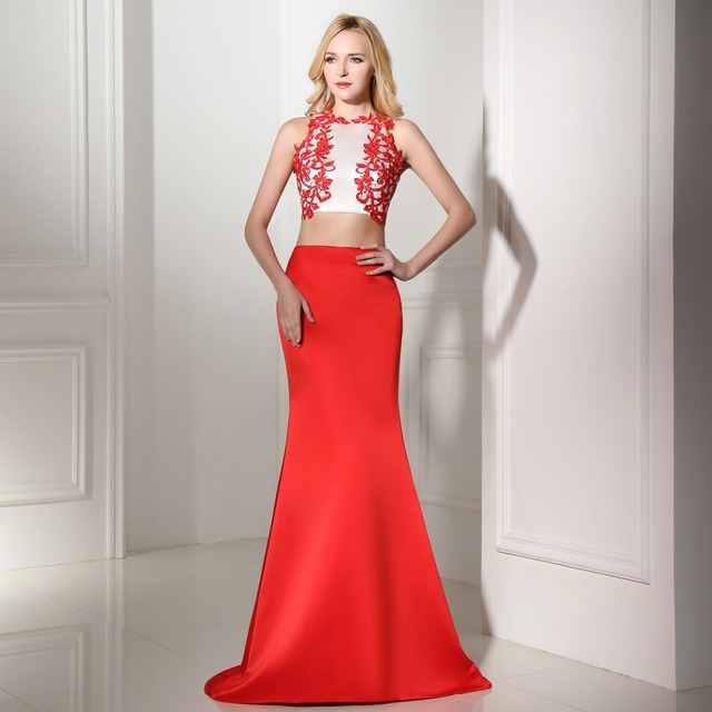 916825bffb5439 New Arrival Tank O Neck Embroidery Sexy Red Mermaid Crop Top Two Piece 2  Piece Prom Dresses 2019