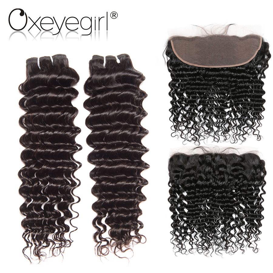 Brazilian Hair Weave Bundles With Frontal Deep Wave 2 Bundles With Closure Non Remy Human Hair Bundles With Closure Oxeyegirl
