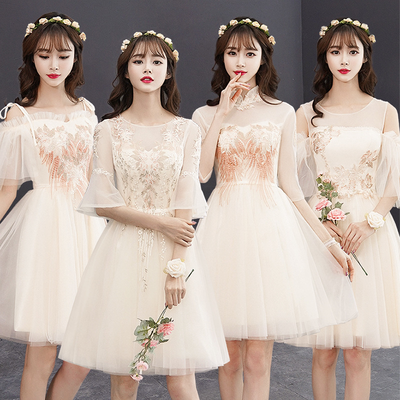 2020 new bridesmaid dresses Short sister group champagne wedding Event Prom Girl dress Graduation Homecooming Dresses