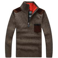Mens Pullover Sweaters Autumn Winter Casual Knitwear Male Pullovers Half Thick Warm Zipper Classic Men S