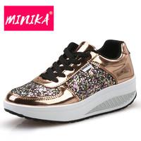 MINIKA Bling Platform Sneakers Women Fashion Golden Sequin Waterproof Women Flat   Shoes   Spring Autumn Lace Up Casual   Shoes   Women