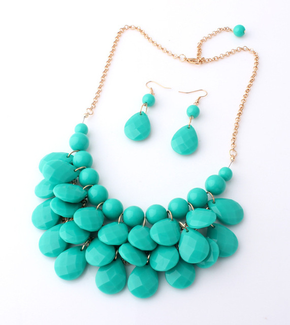 9 Colors 2014 New Fashion Chokers Bib Bubble Statement Necklace for Women Jewellery Acrylic Beaded Necklaces with Earrings set