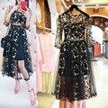 Bordado vestidos de playa de malla de primavera y verano mujeres negro bordado floral atractivo del partido de la moda runway dress vestidos