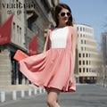 Veri Gude Summer Dress Women Elegant Dress High Waist Sleeveless  Patchwork