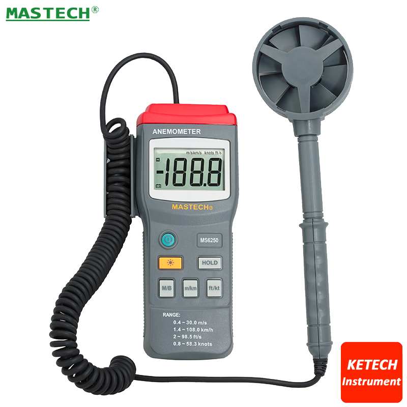 Digital Anemometer Air Velocity Wind Speed Meter Tester Range 77.7Knots 40M/S 131.2Ft/S 144Km/H MS6250 eam02 lcd backlight bside digital anemometer air velocity volume wind speed area meter gauge tester meter