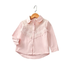 Kids Girl Shirt Brand Cotton Children Clothing High Quality White/pink Girls Blouses Full Sleeve Kids Clothes For Girls Clothes