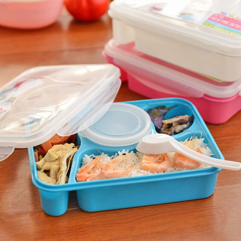 Bento Box Food Grade Material Microwave Heating Mess Tin Three Grids With A Soup Bowl Sealed