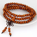 6 ММ К Счастью Будда Деревянные Три Слоя Бусины Браслет для женщин для мужчин эластичный браслет оптовая Лаки Тибет Ювелирных Изделий