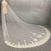 New Come Lace Appliqued 3 Meters Long Bridal Veil Wedding Veil Wedding Accessories