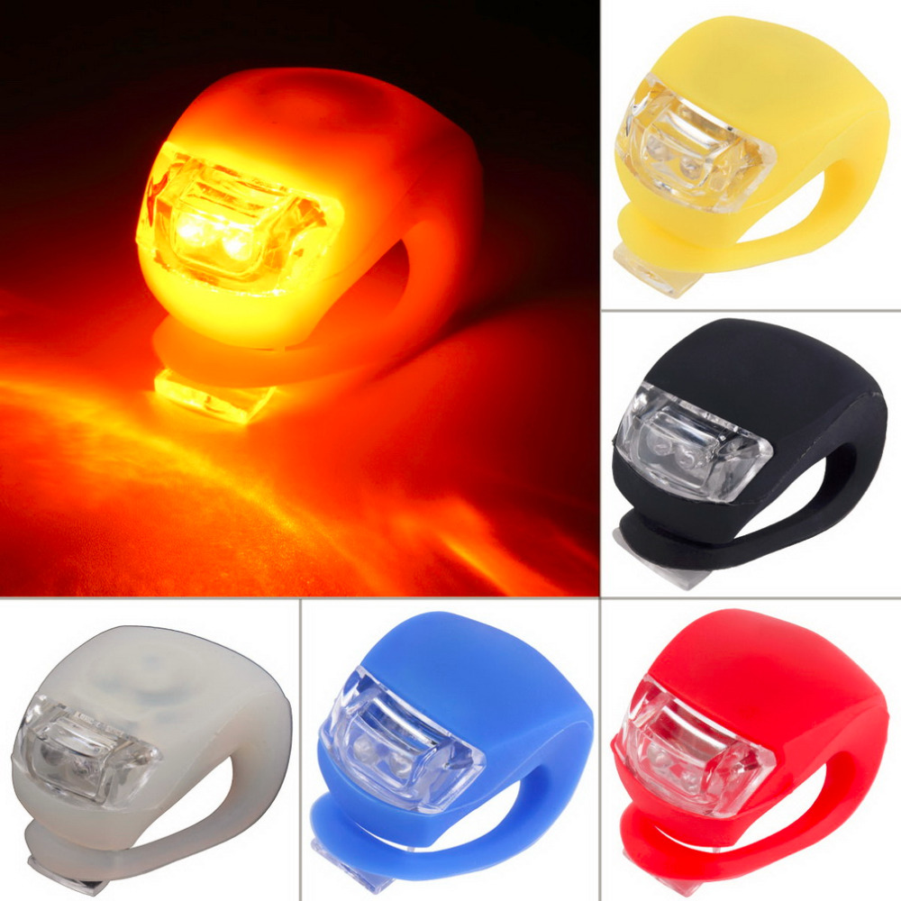 1 pc wholesale silicone bike light bicycle cycling head front rear wheel led flash light lamp