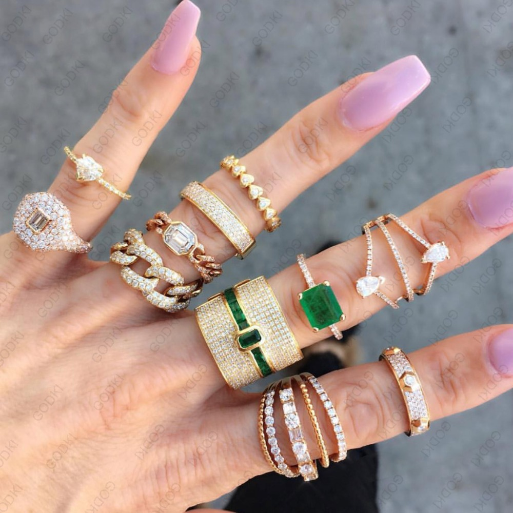 Image 5 - GODKI Luxury Geometry Statement Stackable Rings For Women Wedding Cubic Zircon Engagement Dubai Gold Bridal Choker Finger Rings-in Wedding Bands from Jewelry & Accessories