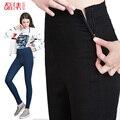 Leiji Outono Estilo 40-120 KG Disponível Plus Size Mulheres Zíper Lateral Legging Calça Jeans de Cintura Alta Elásticas Jeans Skinny Calças lápis