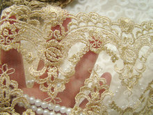 Embroidery Lace Trim Golden Lace Mesh Fabrics for Bridal Wedding Gown Supplies, 10 yards