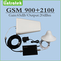Gain 65dB cellphone signal Amplifier repetidor de sinal celular GSM 900mhz & 3G UMTS WCDMA 2100mhz Dual Band signal booster set