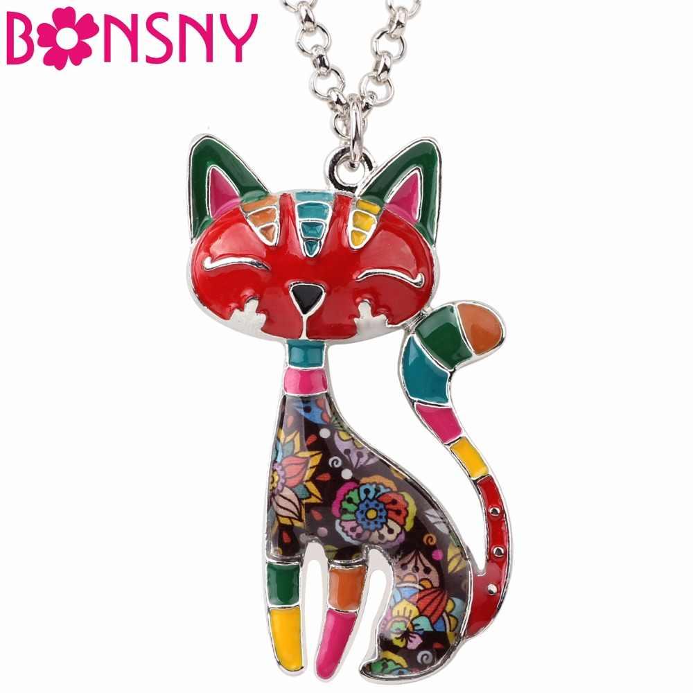 قلادة جميلة على شكل قطة جميلة من سبائك المينا من Bonsny سلسلة قلادات أنيقة على شكل حيوانات مجوهرات للنساء هدايا لمحبي الحيوانات الأليفة للنساء