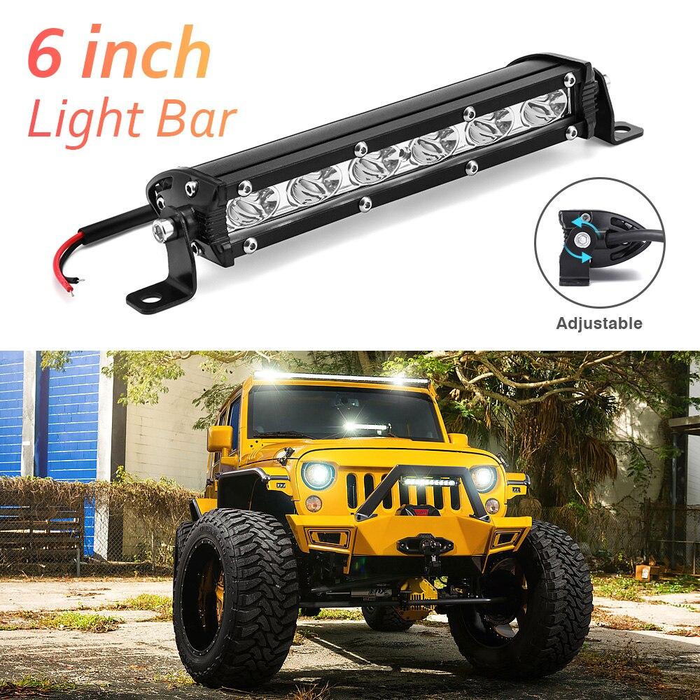 Led Light Bar Spotlight 18W Light Bar Off Road Barra Led Work Lights For Trucks 24V 12V Lamp Tractor Motorcycle Light Bulb
