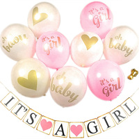 Baby Shower Children Birthday Balloons with Banner 10pcs/lot its a Girl Oh baby printed Baby Shower Party DIY Decoration