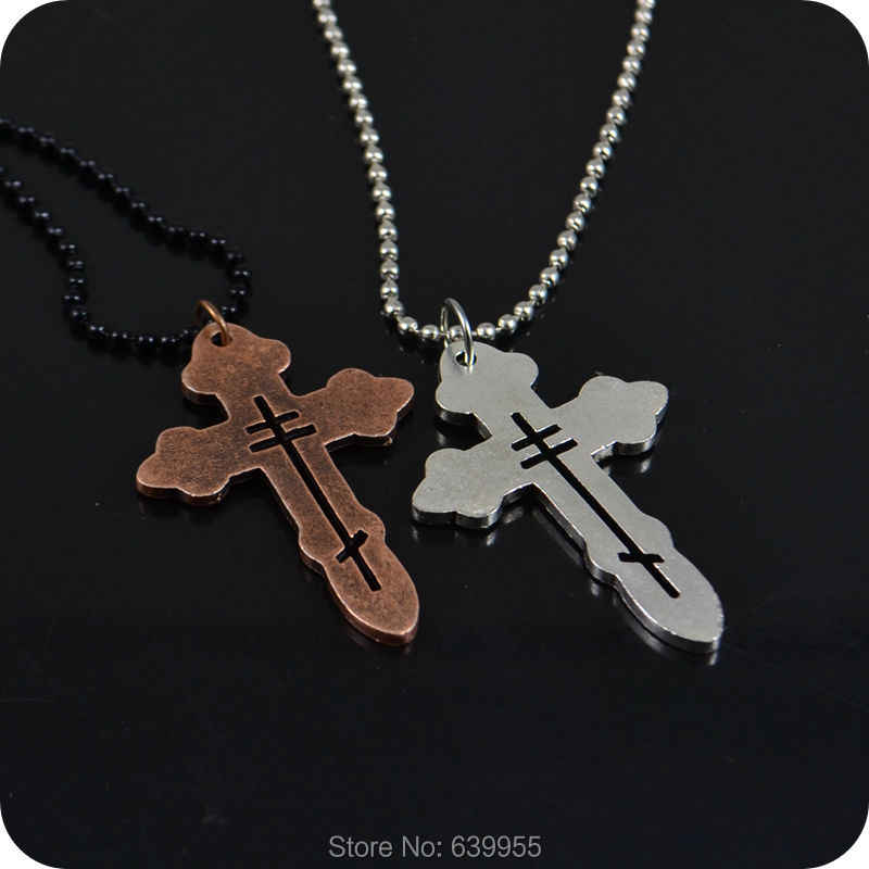 NEW Orthodox Cross alloy Pendant ball beads Necklace Fashion Religious jewelry