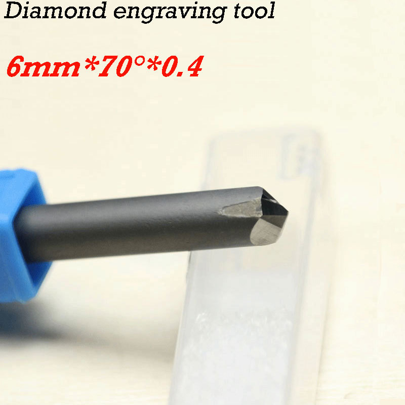 HUHAO 1pc cnc router bits 70degree 0.4*6mm CNC diamond carving tools stone huhao 1pc 6mm cnc router end mill diamond pcd tools stone hard granite cutting engraving bits 30 35 40 45 degree pcd cutter