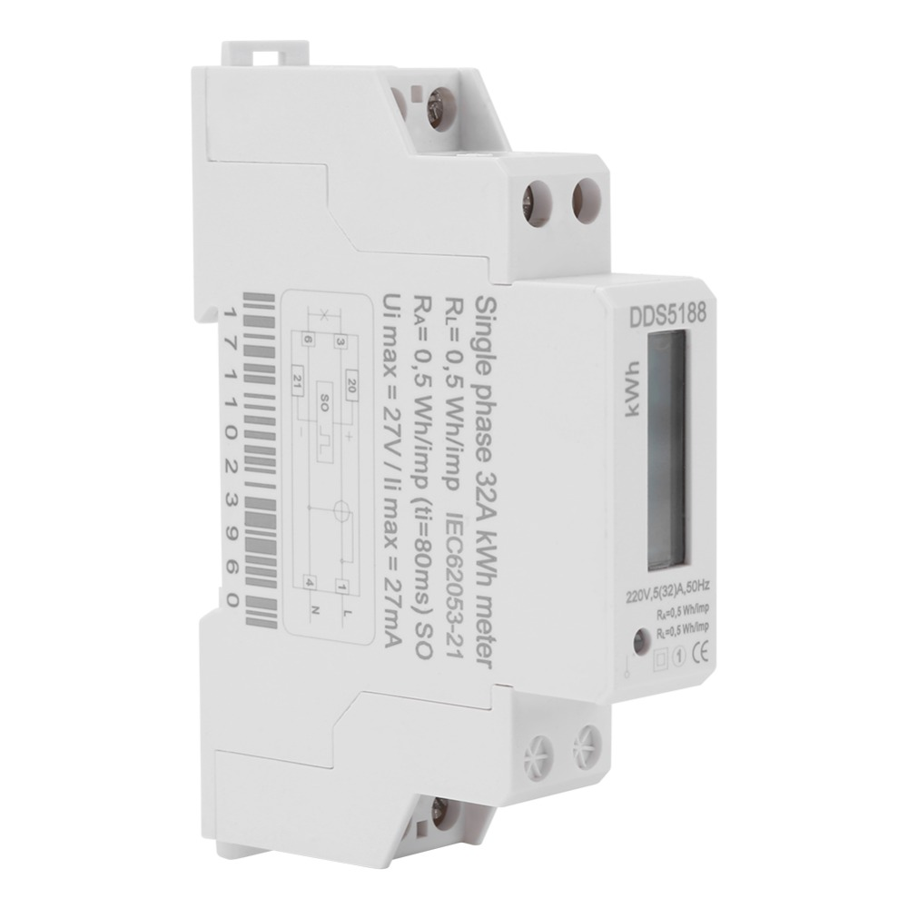 Digital Lcd 220v Single Phase Din Rail Electric Meter 5 32a Kwh Wiring Diagram Electronic