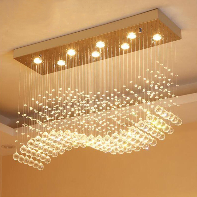 Modern LED Rectangle Living Room K9 Crystal Chandeliers Light Fixtures for Cafe Office Indoor Home Lamp Fixtures