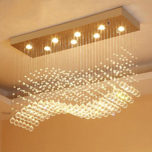 Modern LED Rectangle Living Room K9 Crystal Chandeliers Light Fixtures for Cafe Office Indoor Home Lamp Fixtures
