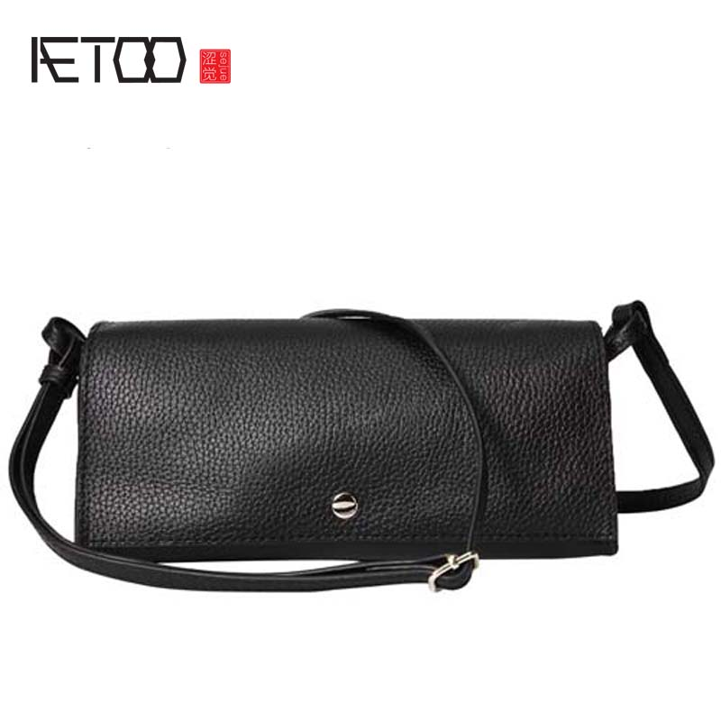 AETOO simple genuine Leather women handbags 2018 New Shoulder Diagonal Bag Ms. Simple The first layer Leather Soft Leather bag aetoo leather new handbags europe and the united states fashion simple handbag head layer of cowhide diagonal shoulder bag handb
