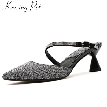 Krazing pot charming lady strange style high heels glitter crystals decoration slip on mules plus size pointed toe shoes L08
