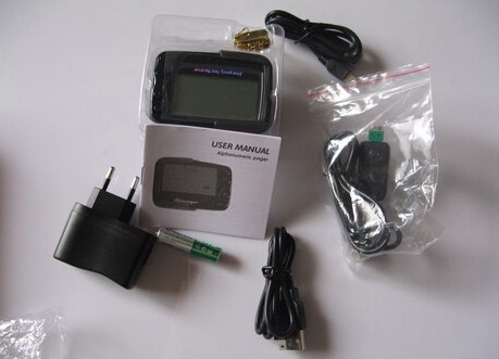 Synthesized or Crystal wireless calling system receiver, 1pc POCSAG pager, 1pc charger, 1pc USB cable, alpha paging pager