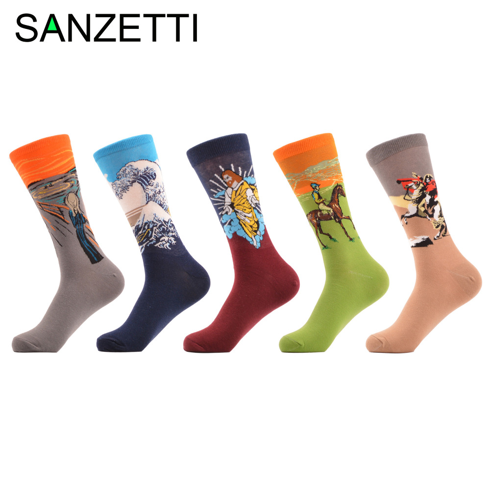SANZETTI 5 pairs/lot Funny Jesus Sea Wave Pattern Male Casual Business Dress Socks Mens Novel Party Combed Cotton Wedding Socks